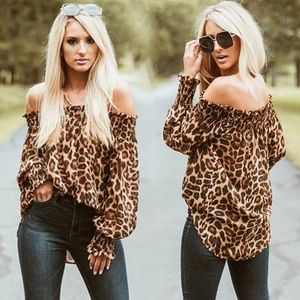 NEW Animal Print Off The Shoulder Blouse